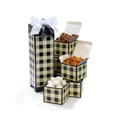 Many Thanks Gourmet Keepsake Box - Black and Cream Buffalo Plaid
