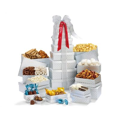 Shimmering Office Party Treats Gourmet Tower - Silver Diamond Pattern