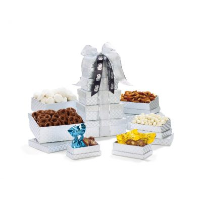 Shimmering Sweets & Snacks Gourmet Tower - Silver Diamond Pattern