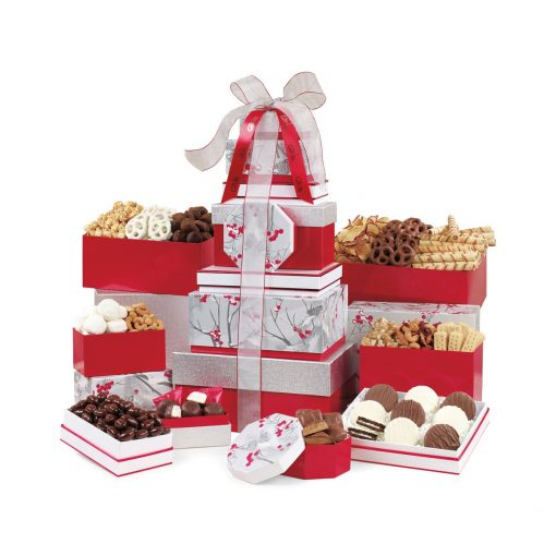 Best of the Season Gourmet Sweets & Treats Tower - Red-Silver Pattern
