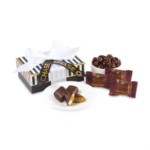 Black Tie Dark Chocolate Gift Box - Black & White Stripes