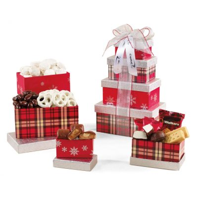 Festive Holiday Sweets Tower - Silver and Red Plaid