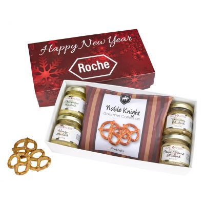 Gourmet Mustard Set With Pretzels In Gift Box