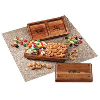Acacia Tray with Jelly Belly® Jelly Beans & Cashews