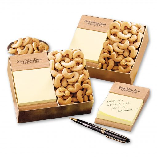 Beech Post-it® Note Holder with Extra Fancy Jumbo Cashews
