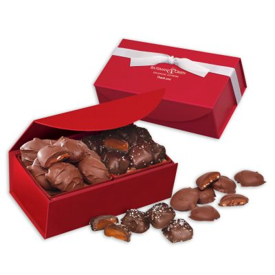 Chocolate Sea Salt Caramels & Pecan Turtles in Red Magnetic Gift Box