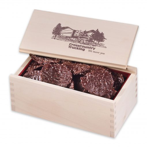 Chocolate Sea Salt Potato Chips in Wooden Collector's Box