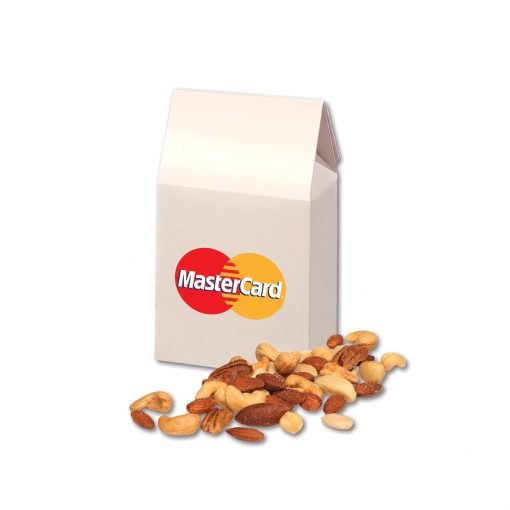 Deluxe Mixed Nuts in Gable Top Gift Box with Full Color Imprint