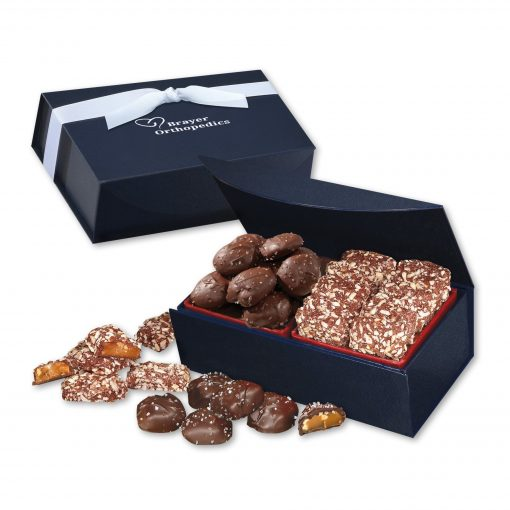 Toffee & Sea Salt Almond Turtles in Navy Magnetic Closure Box
