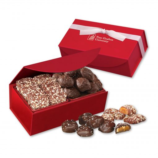 Toffee & Sea Salt Almond Turtles in Red Magnetic Closure Box