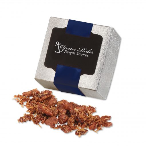 Coconut Praline Pecans in Silver Gift Box