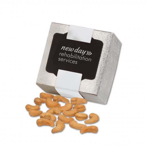 Extra Fancy Jumbo Cashews in Silver Gift Box
