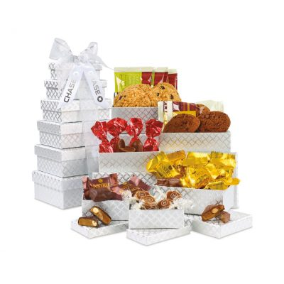 Gourmet Tower of Individually Wrapped Treats - 24 pc - Silver Diamond Pattern