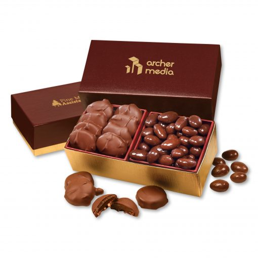 Pecan Turtles & Chocolate Almonds in Burgundy & Gold Gift Box