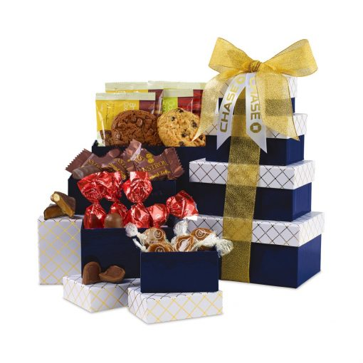 Sweet Snacks Tower of Individually Wrapped Treats - 16 pc - Navy-White & Gold
