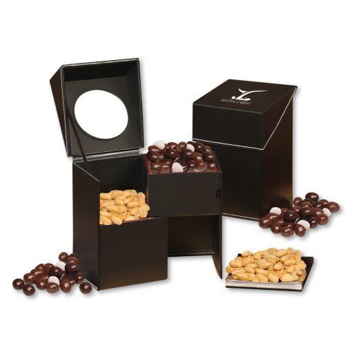 Faux Leather Desktop Storage Box with Virginia Peanuts and Chocolate Raisins