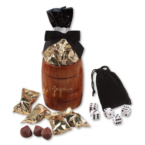 Classic Wooden Barrel Cup with Individually-Wrapped Cocoa Dusted Truffles