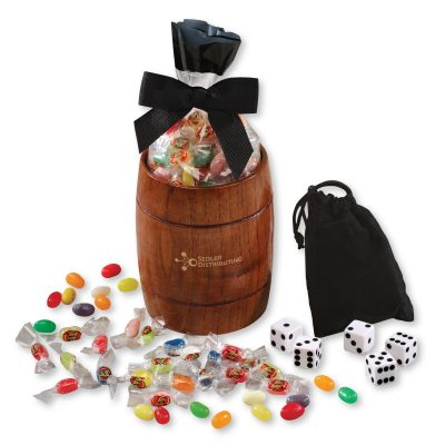 Classic Wooden Barrel Cup with Individually-Wrapped Jelly Belly® Jelly Beans