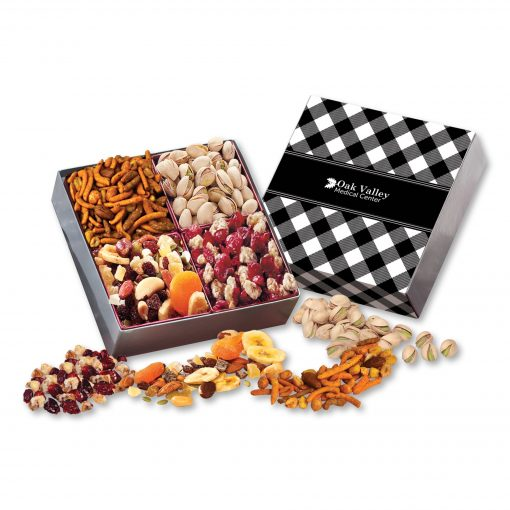 Gift Box with Gourmet Treats with Black Plaid Sleeve