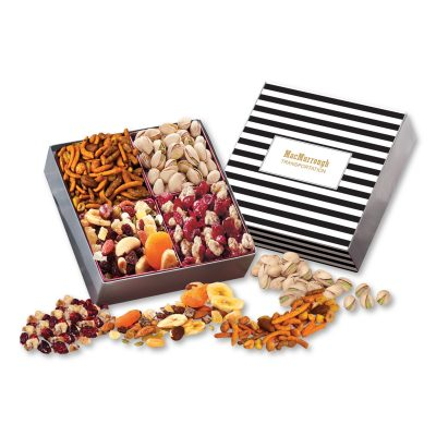 Gift Box with Gourmet Treats with Stripes Sleeve