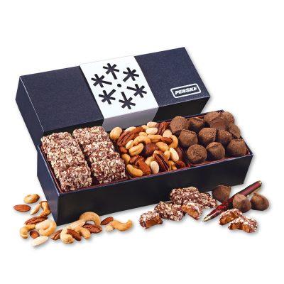 Navy Snowflake Wrapped Gift Box