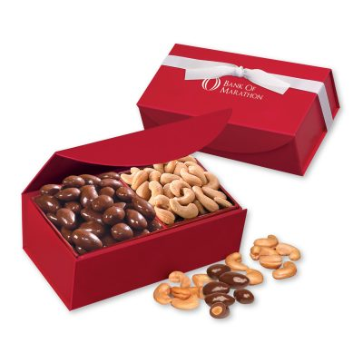 Chocolate Almonds & Cashews in Red Magnetic Closure Box