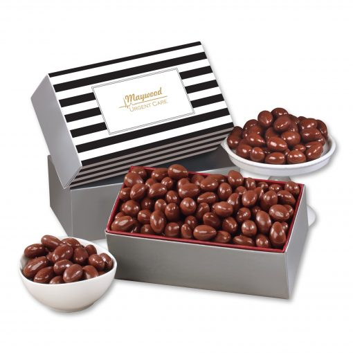 Chocolate Covered Almonds with Black & White Striped Sleeve
