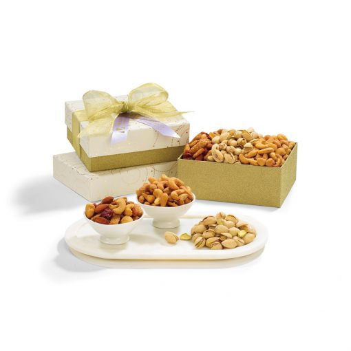 Nutty Day Snack Gift Box - Sparkling White and Gold