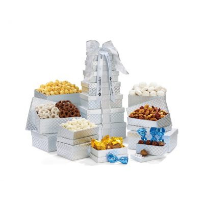 Sweet & Savory Snackability Tower - Silver Diamond Pattern