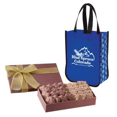 Executive Gift Set With Snow Flurry Lola Laminated Non-Woven Tote Bag