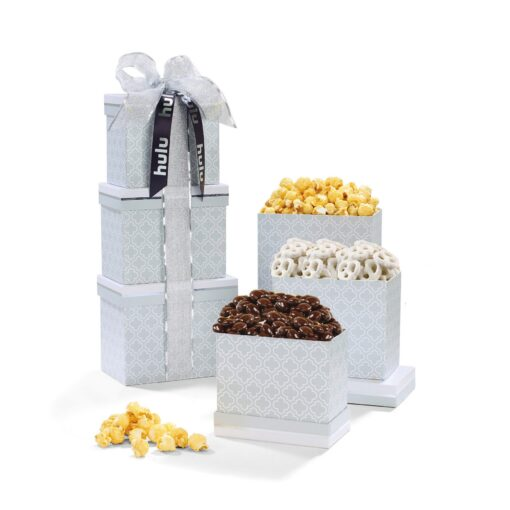 Thank You Gift Of Treats Tower - Light Grey Moroccan Pattern