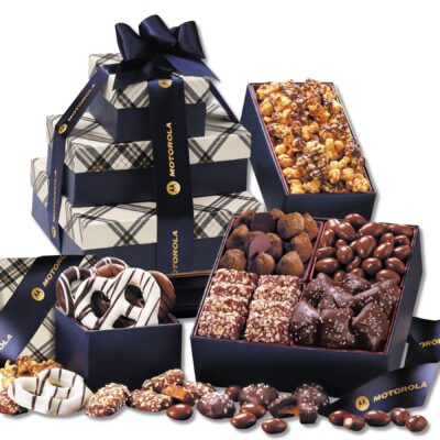 Navy Plaid Tower of Sweets