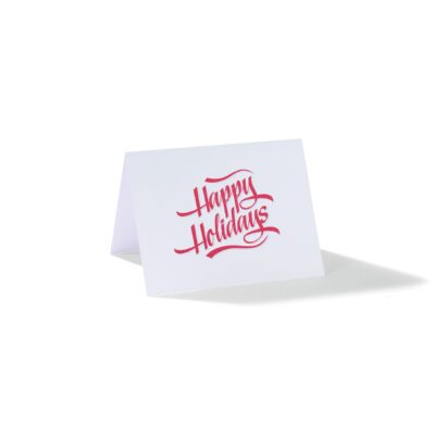 Happy Holidays Folding Greeting Card - White with Happy Holidays